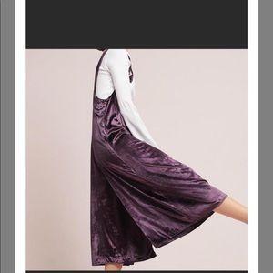 Anthro Maeve Plum Crushed velvet wide leg jumpsuit